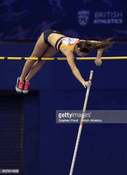 Jade Ive of Great Britain competes in the womens pole vault during the Muller Indoor Grand Prix 2017 at the Barclaycard Arena on February 18 2017 in...