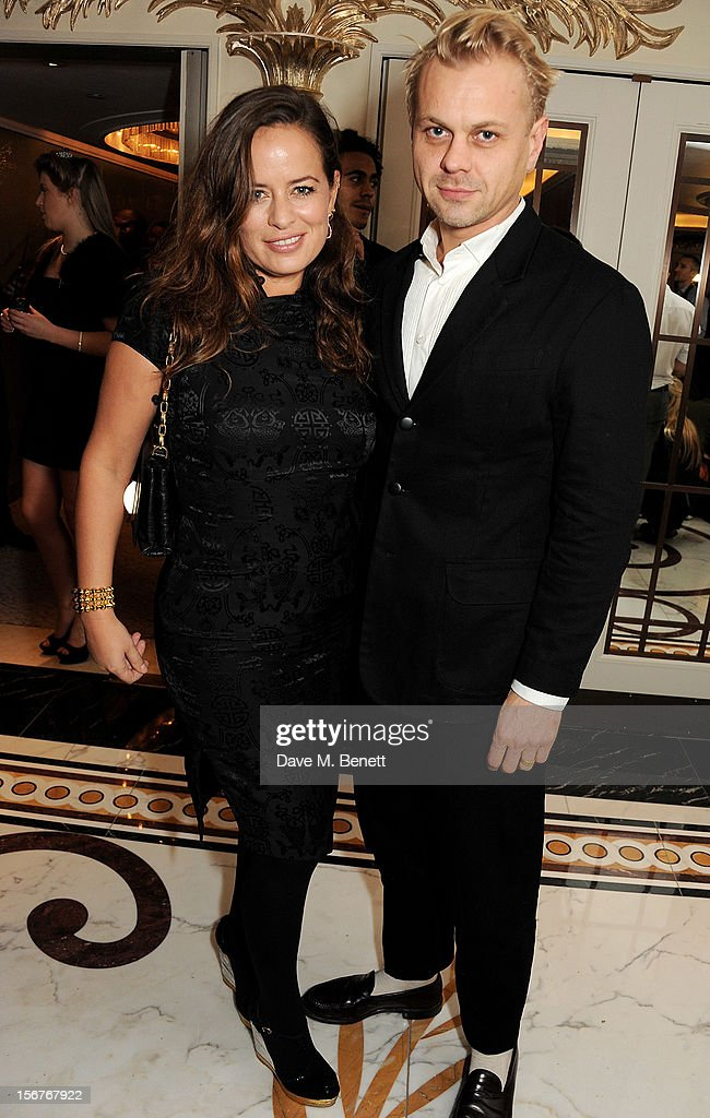 Jade Jagger (L) and Adrian Fillary attend a drinks reception at the Amy Winehouse Foundation Ball held at The Dorchester on November 20, 2012 in London, England.