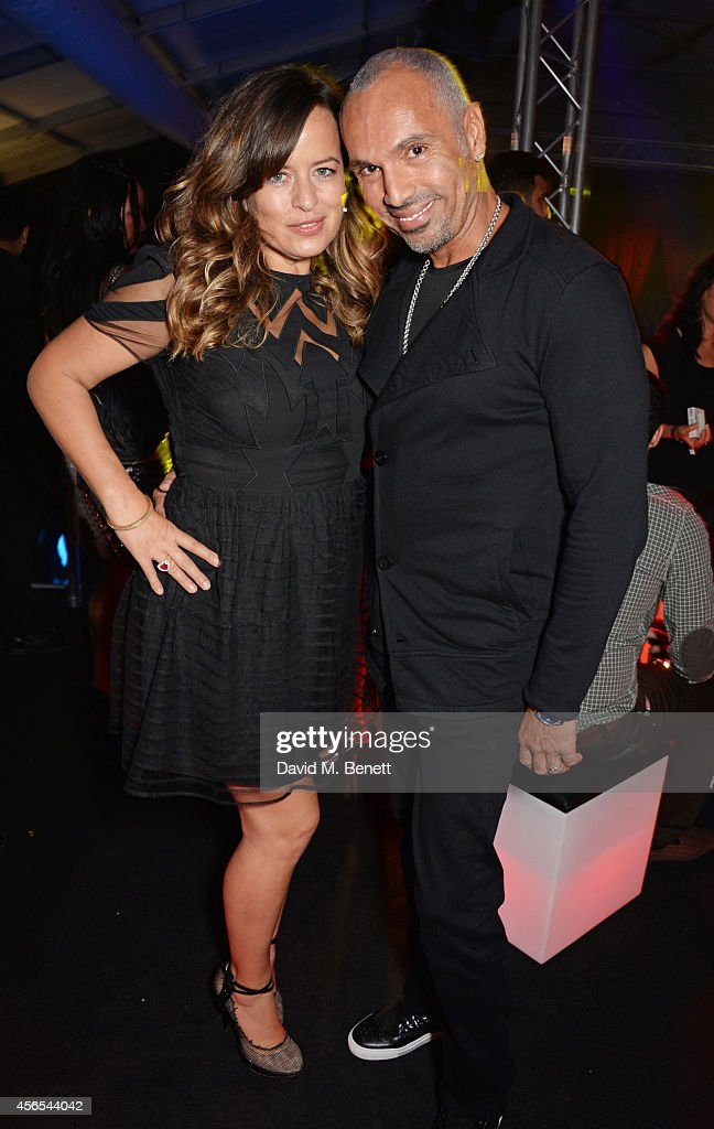 Jade Jagger and David Morales attend the 10th anniversary of Mortons in Berkeley Square Gardens on October 2 2014 in London England