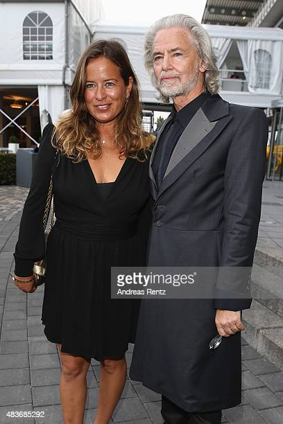 Jade Jagger and Hermann Buehlbecker attend the FEI European Championship 2015 media night on August 11 2015 in Aachen Germany
