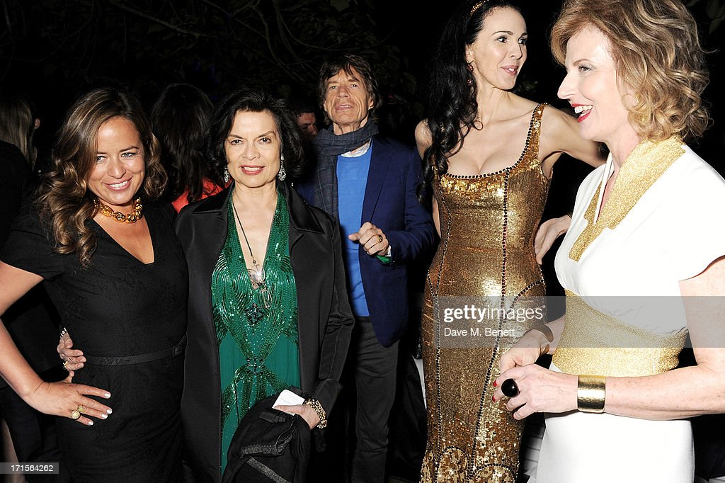 Jade Jagger, Bianca Jagger, Mick Jagger, L'Wren Scott and Julia Peyton-Jones attend the annual Serpentine Gallery Summer Party co-hosted by L'Wren Scott at The Serpentine Gallery on June 26, 2013 in London, England.