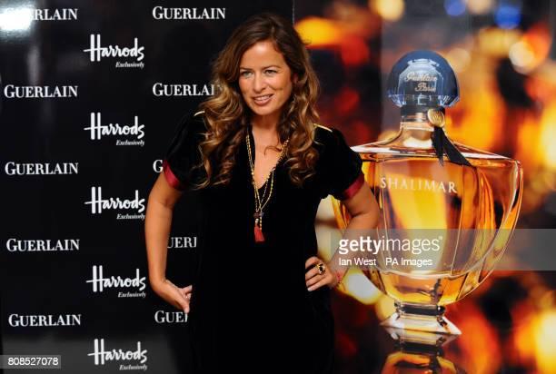 Jade Jagger poses with her interpretation of Guerlain's iconic Shalimar Eau de Parfum bottle at Harrods in LondonPicture date Wednesday 8th September...