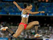 Jade Johnson of England competes during the women's Long Jump final at the athletics during day nine of the Melbourne 2006 Commonwealth Games at the...