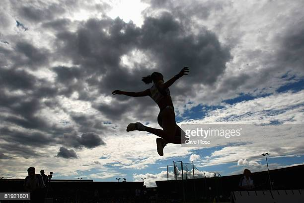 Jade Johnson of Great Britain in action during the Womens Long Jump at the Aviva National Championships Olympic Trials at Alexander Stadium on July...