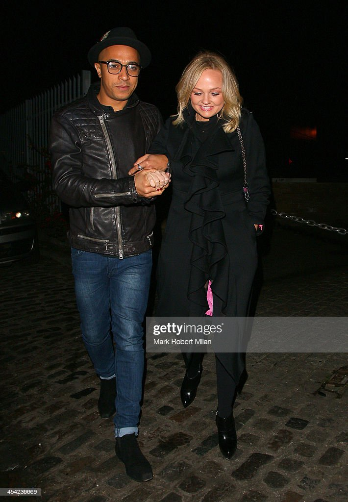 Jade Jones and <a gi-track='captionPersonalityLinkClicked' href=/galleries/search?phrase=Emma+Bunton&family=editorial&specificpeople=201973 ng-click='$event.stopPropagation()'>Emma Bunton</a> at Gilgamesh restaurant on December 7, 2013 in London, England.