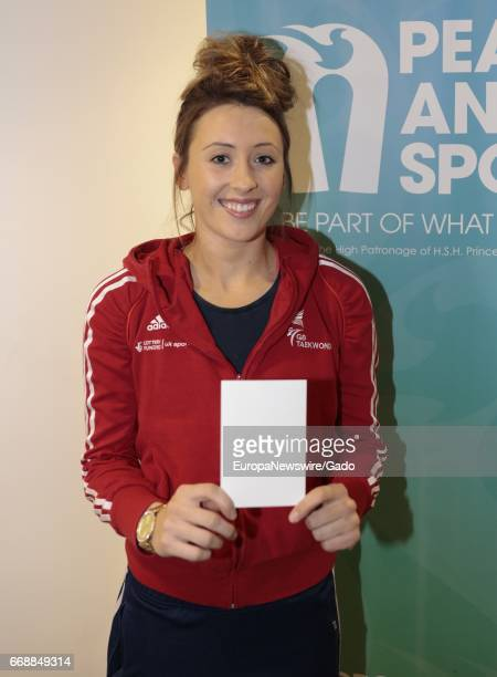 Jade Jones MBE United Kingdom Taekwondo Gold Medal winner during briefing by the Organization for Peace and Sport on the role of sport as a tool to...