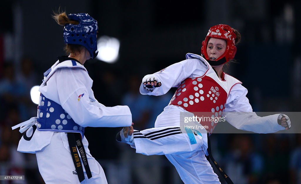 Jade Jones of Great Britain and Ana Zaninovic of Croatia compete during the Women's Taekwondo 57kg on day five of the Baku 2015 European Games at the...