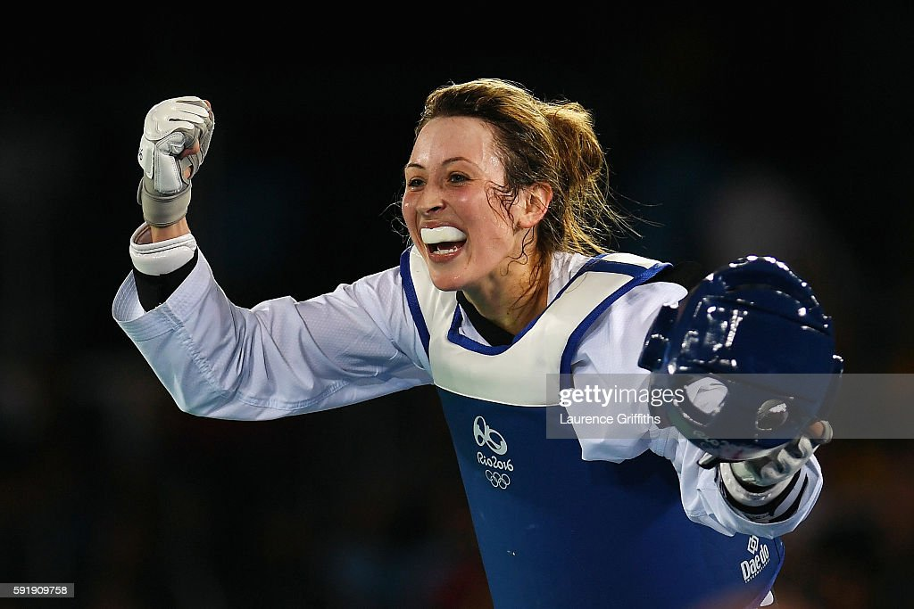Jade Jones of Great Britain celebrates after defeating Eva Calvo Gomez of Spain during the Women's -57kg Gold Medal Taekwondo contest at the Carioca Arena on Day 13 of the 2016 Rio Olympic Games on August 18, 2016 in Rio de Janeiro, Brazil.
