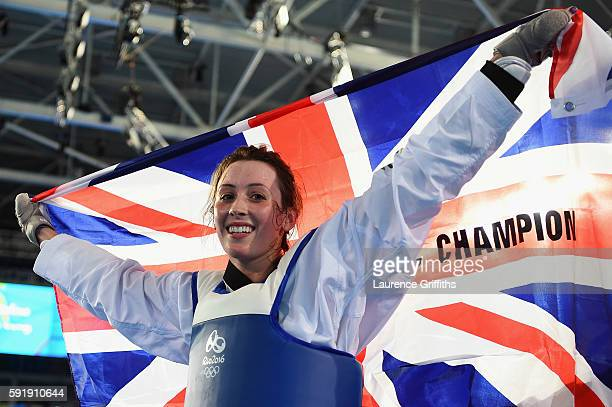 Jade Jones of Great Britain celebrates after defeating Eva Calvo Gomez of Spain during the Women's 57kg Gold Medal Taekwondo contest at the Carioca...
