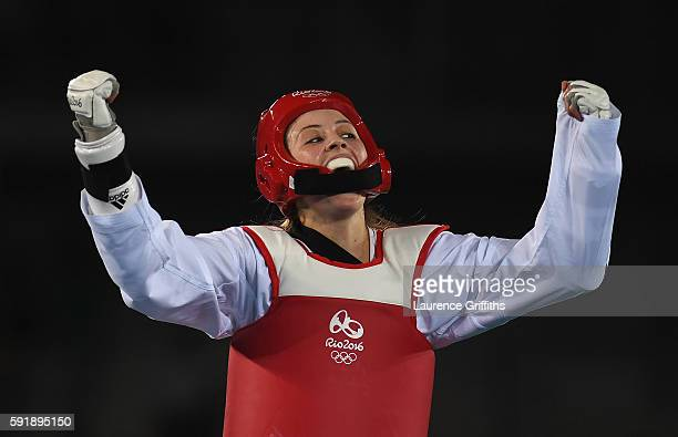Jade Jones of Great Britain celebrates her victory over Nikita Glasnovic of Sweden during the Womens 57kg Taekwondo Semi Final contest at Cairoca...