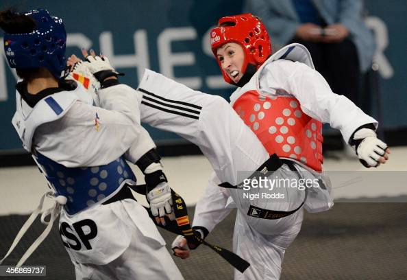 Jade Jones of Great Britain fights Eva Calvo of Spain in the women's final of The World Taekwondo Grand Prix at Manchester central arena on December...