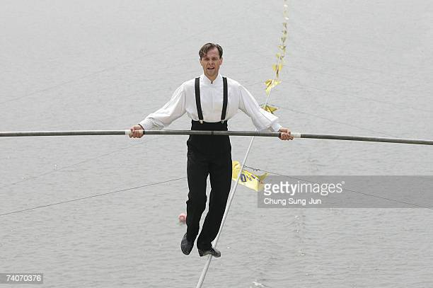 Jade KinderMartin of USA participates in the first World High Wire Championships over the HanGang River on May 3 2007 in Seoul South Korea As part of...