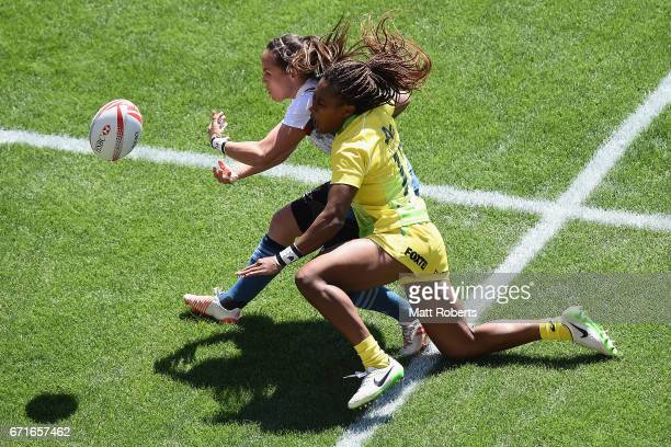 Jade Le Pesq of France is tackled by Ellia Green of Australia during the HSBC World Rugby Women's Sevens Series 2016/17 Kitakyushu quarter final...