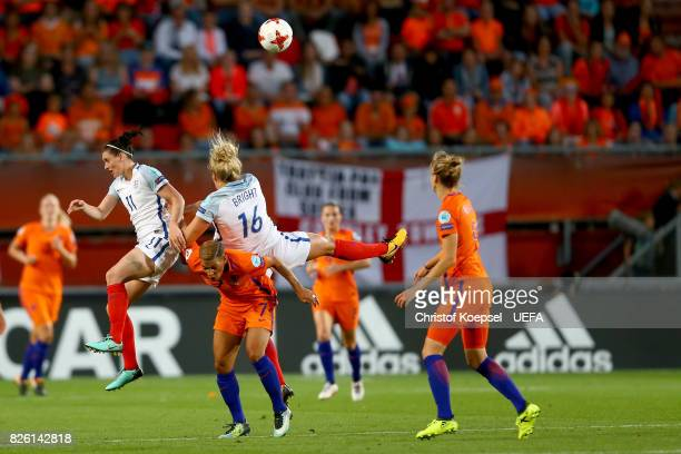 Jade Moore of England Shanice van de Sanden of the Netherlands and Millie Bright of England fight for the ball during the UEFA Women's Euro 2017...