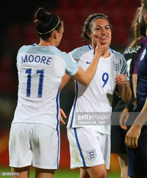 Jade Moore of England Women celebrates with Jodie Taylor of England Women after the UEFA Women's Euro 2017 match between England and France at...