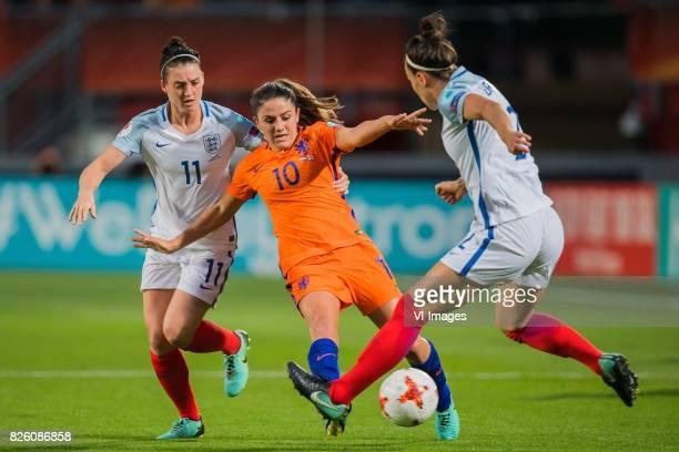 Jade Moore of England women Danielle van de Donk of Holland Women Lucia Bronze of England women during the semifinal UEFA WEURO 2017 match between...