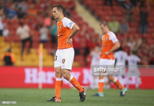 Jade North of Brisbane reacts after the loss during the round two ALeague match between the Brisbane Roar and Adelaide United at Suncorp Stadium on...