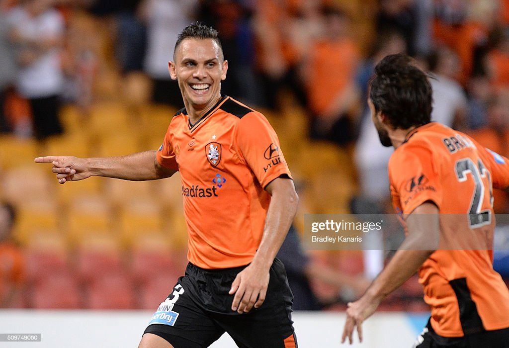 <a gi-track='captionPersonalityLinkClicked' href=/galleries/search?phrase=Jade+North&family=editorial&specificpeople=220626 ng-click='$event.stopPropagation()'>Jade North</a> of the Roar celebrates scoring a goal during the round 19 A-League match between the Brisbane Roar and the Newcastle Jets at Suncorp Stadium on February 12, 2016 in Brisbane, Australia.