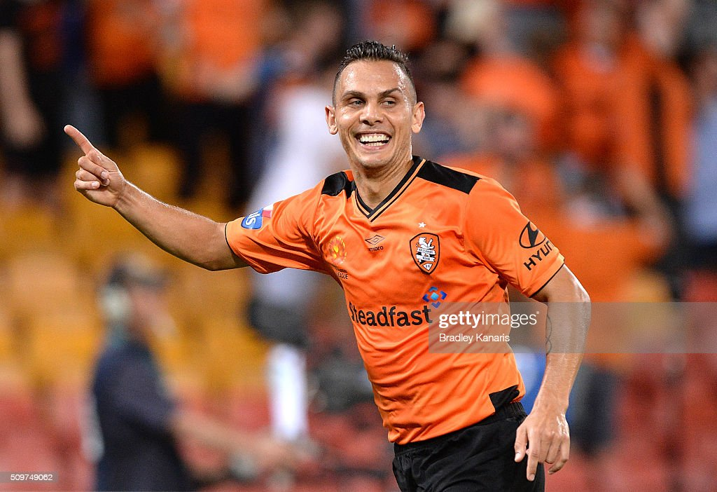 Jade North of the Roar celebrates scoring a goal during the round 19 A-League match between the Brisbane Roar and the Newcastle Jets at Suncorp Stadium on February 12, 2016 in Brisbane, Australia.
