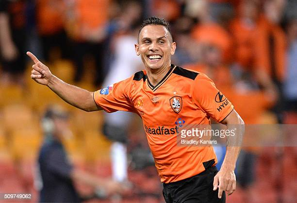 Jade North of the Roar celebrates scoring a goal during the round 19 ALeague match between the Brisbane Roar and the Newcastle Jets at Suncorp...