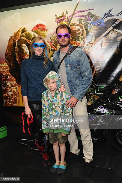 Jade Parfitt and family attend the UK Gala screening of Teenage Mutant Ninja Turtles at Vue West End on September 28 2014 in London England