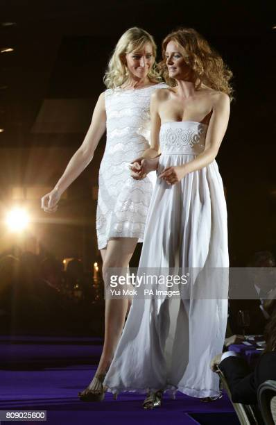 Jade Parfitt and Olivia Inge during a fashion show at the RPJ Crohns Foundation Rock Ball at The Hurlingham Club in west LondonPicture date Thursday...