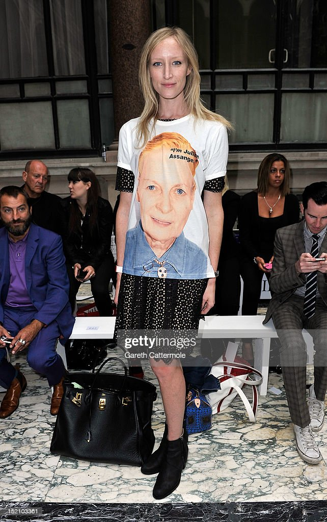 Jade Parfitt attends the front row for the Vivienne Westwood Red Label show on day 3 of London Fashion Week Spring/Summer 2013, at the British Foreign & Commonwealth Office on September 16, 2012 in London, England.