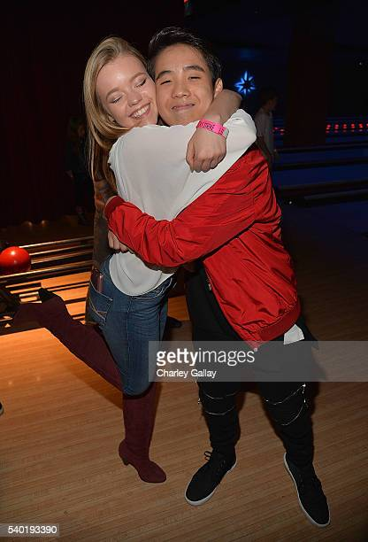 Jade Pettyjohn and Lance Lim attend Breanna Yde's 13th Birthday Party at Lucky Strike Lanes at LA Live on June 11 2016 in Los Angeles California