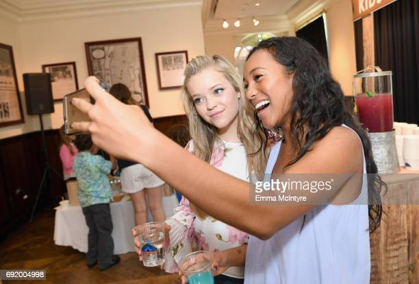 Jade Pettyjohn and Sydney Park at the Brooks Brothers Beverly Hills summer camp party benefitting St Jude Children's Research Hospital at Brooks...