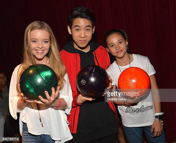 Jade Pettyjohn Lance Lim and Breanna Yde attend Breanna Yde's 13th Birthday Party at Lucky Strike Lanes at LA Live on June 11 2016 in Los Angeles...