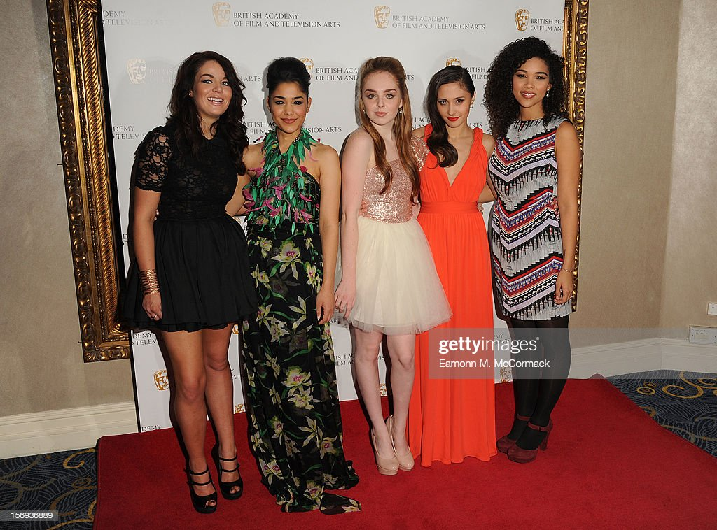 Jade Ramsey, Tasie Lawrence, Louisa Connolly-Burnham, Klariza Clayton and Alexandra Ship of Nickelodeon's House of Anubis attend 2012 Children's BAFTA Awards at Hilton Park Lane on November 25, 2012 in London, England.