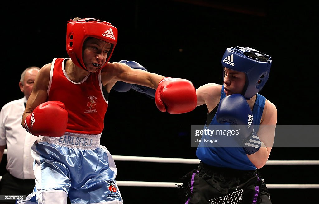 Jade Retzen Demi (blue gloves) in action against Tanya Dada in their 48kg final bout during day three of the Boxing Elite National Championships at Echo Arena on May 01, 2016 in Liverpool, England.