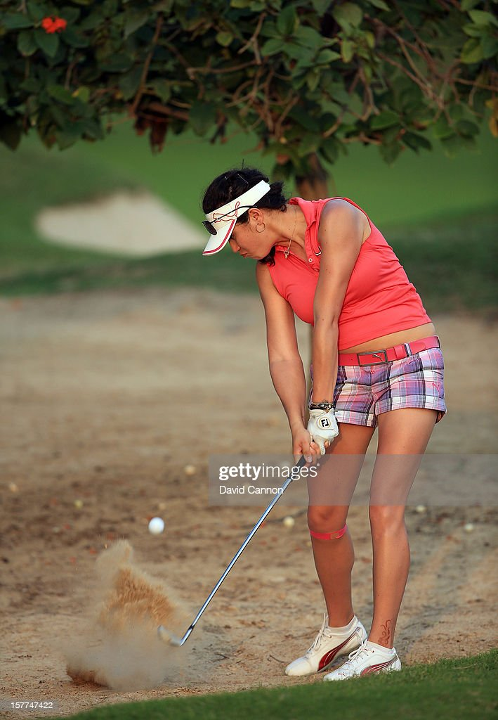 Jade Schaeffer of France plays her second shot at the par 4, 9th hole during the second round of the 2012 Omega Dubai Ladies Masters on the Majilis Course at the Emirates Golf Club on December 6, 2012 in Dubai, United Arab Emirates.