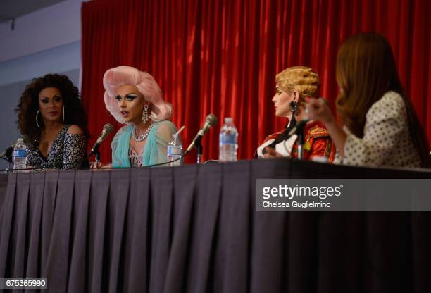 Jade Sotomayor Farrah Moan and Cynthia Lee Fontaine speak onstage at 3rd Annual RuPaul's DragCon day 2 at Los Angeles Convention Center on April 30...