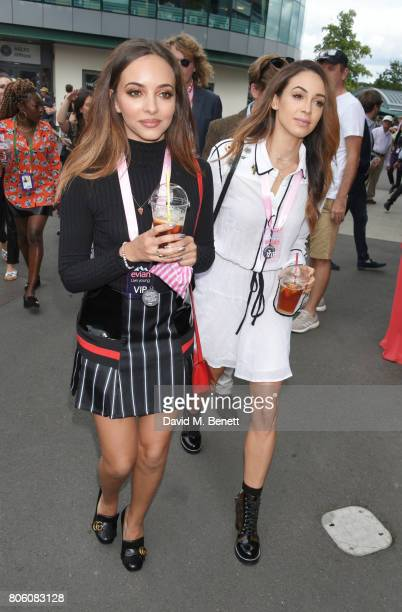 Jade Thirlwall and Danielle Peazer attend the evian Live Young suite during Wimbledon 2017 at the All England Tennis and Croquet Club on July 3 2017...