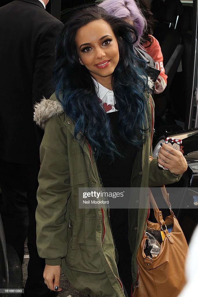 <a gi-track='captionPersonalityLinkClicked' href=/galleries/search?phrase=Jade+Thirlwall&family=editorial&specificpeople=8378191 ng-click='$event.stopPropagation()'>Jade Thirlwall</a> from Little Mix seen arriving at an office on February 14, 2013 in London, England.