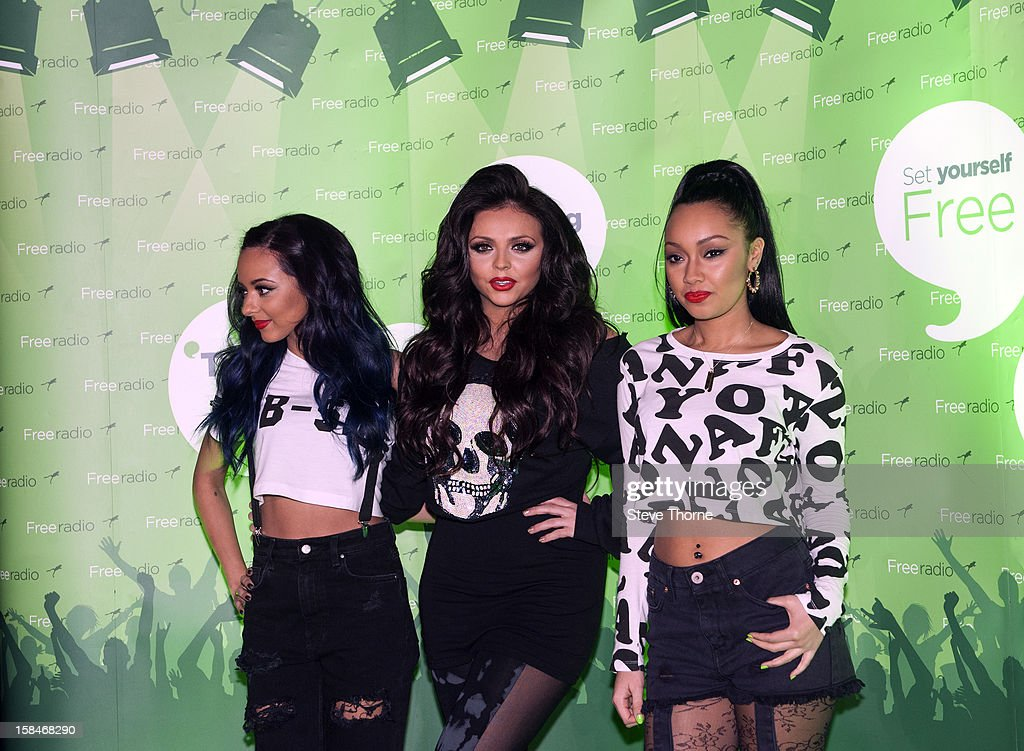 Jade Thirlwall, Jesy Nelson and Leigh-Anne Pinnock of Little Mix pose backstage at the Free Radio Live gig at LG Arena on December 15, 2012 in Birmingham, England.