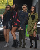 Jade Thirlwall Jesy Nelson Perrie Edwards and LeighAnne Pinnock from Little Mix seen at The ITV Studios on September 29 2015 in London England