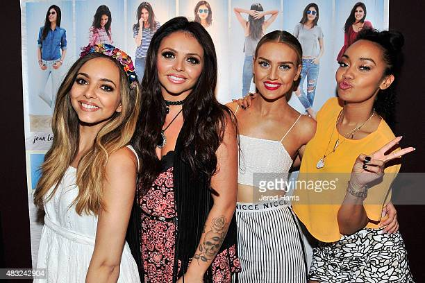 Jade Thirlwall Jesy Nelson Perrie Edwards and LeighAnne Pinnock of Little Mix perform at Hollister Co on August 6 2015 in San Diego California
