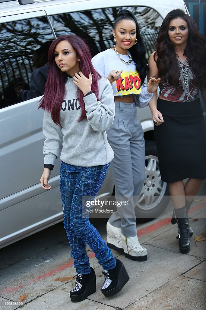Jade Thirlwall, Leigh-Anne Pinnock and Jesy Nelson from Little Mix seen at The ITV Studios on November 23, 2012 in London, England.