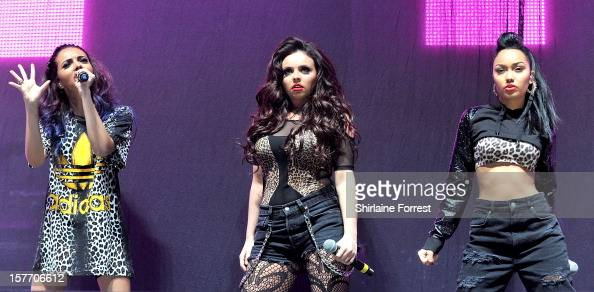 Jade Thirlwall LeighAnne Pinnock and Jesy Nelson of Little Mix perform as a trio at the Key 103 Jingle Ball at Manchester Arena on December 5 2012 in...
