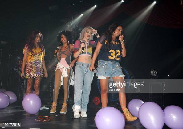 Jade Thirlwall LeighAnne Pinnock Perrie Edwards and Jesy Nelson of Little Mix perform on stage for GAY night at Heaven on August 18 2012 in London...