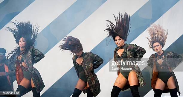 Jade Thirlwall LeighAnne Pinnock Perrie Edwards and Jesy Nelson of Little Mix perform at V Festival at Hylands Park on August 21 2016 in Chelmsford...