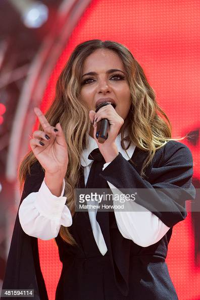 Jade Thirlwall of Little Mix performs on stage during MTV Crashes Plymouth at Plymouth Hoe on July 22 2014 in Plymouth England