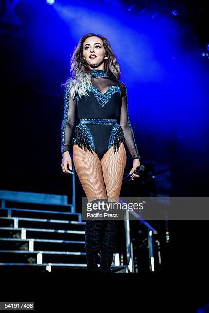 Jade Thirlwall of the girl pop band Little Mix pictured on stage as she performs live at Street Music Art in Assago Milan Italy
