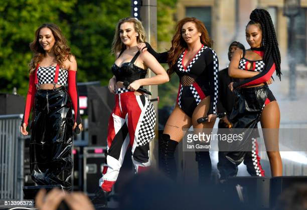 Jade Thirlwall Perrie Edwards Jesy Nelson and LeighAnne Pinnock of Little Mix perform on stage at the F1 Live in London event at Trafalgar Square on...