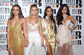 Jade Thirlwall Perrie Edwards LeighAnne Pinnock and Jesy Nelson from Little Mix attend the BRIT Awards 2016 at The O2 Arena on February 24 2016 in...