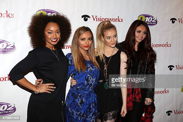 Jade Thirlwall Perrie Edwards LeighAnne Pinnock and Jesy Nelson of Little Mix pose at Q102 Performance Theater March 1 2014 in Bala Cynwyd...