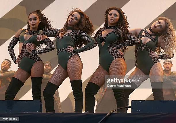 Jade Thirlwall Perrie Edwards LeighAnne Pinnock and Jesy Nelson of Little Mix performs at V Festival at Weston Park on August 20 2016 in Stafford...