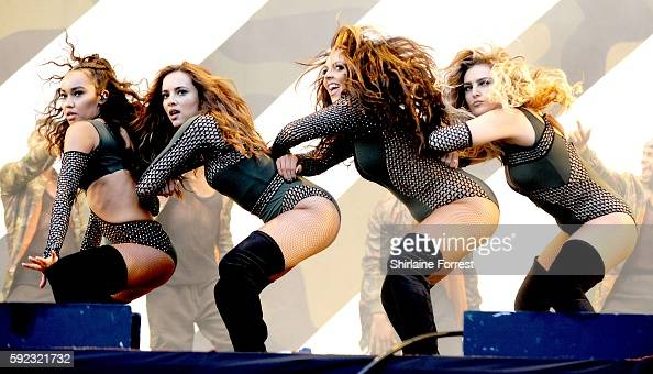 Jade Thirlwall Perrie Edwards LeighAnne Pinnock and Jesy Nelson of Little Mix perform at V Festival at Weston Park on August 20 2016 in Stafford...